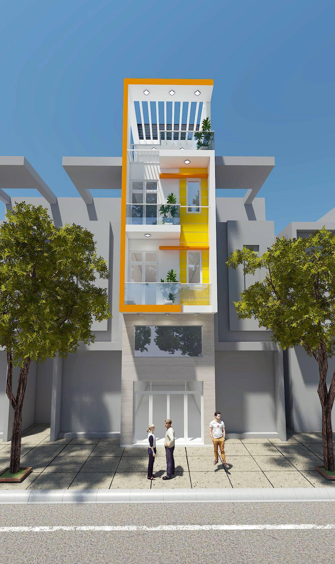 Thiết kế nhà phố cửa sổ kiểu Pháp