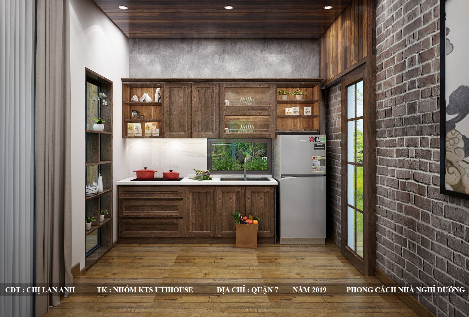Tủ bếp làm từ gỗ - Gỗ tự nhiên, gỗ công nghiệp