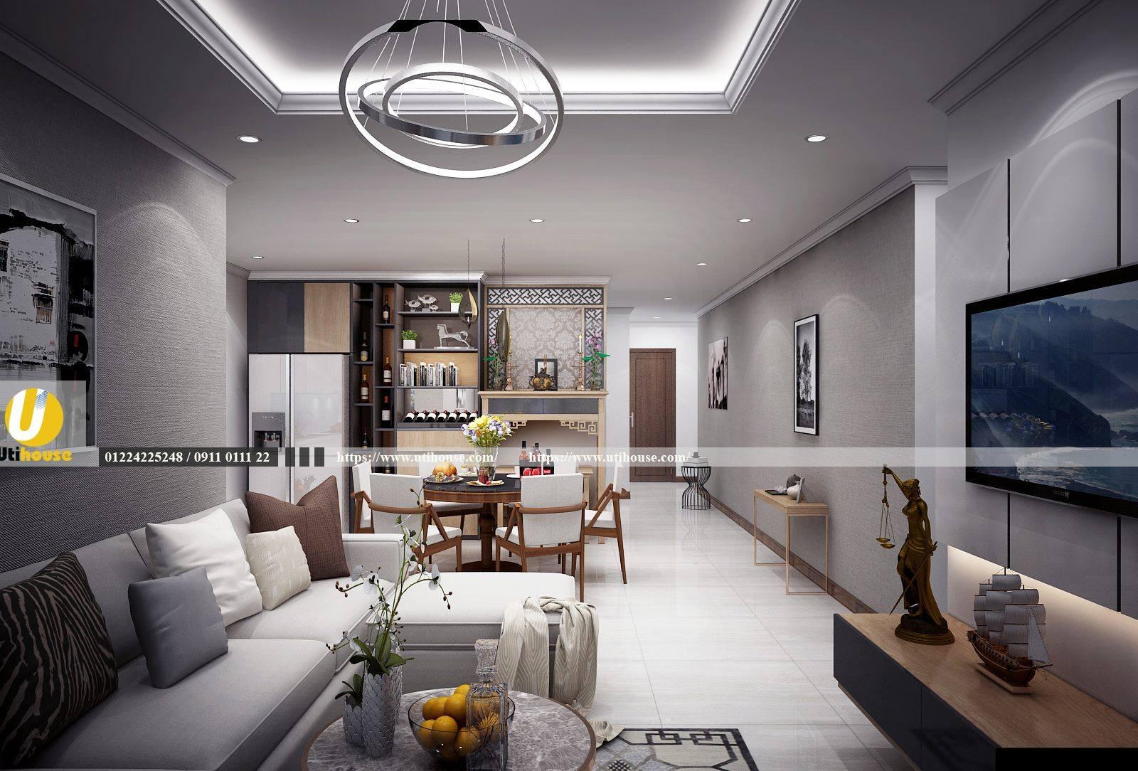 Mẫu nhà ăn liền kề phòng khách cho căn hộ hiện đại