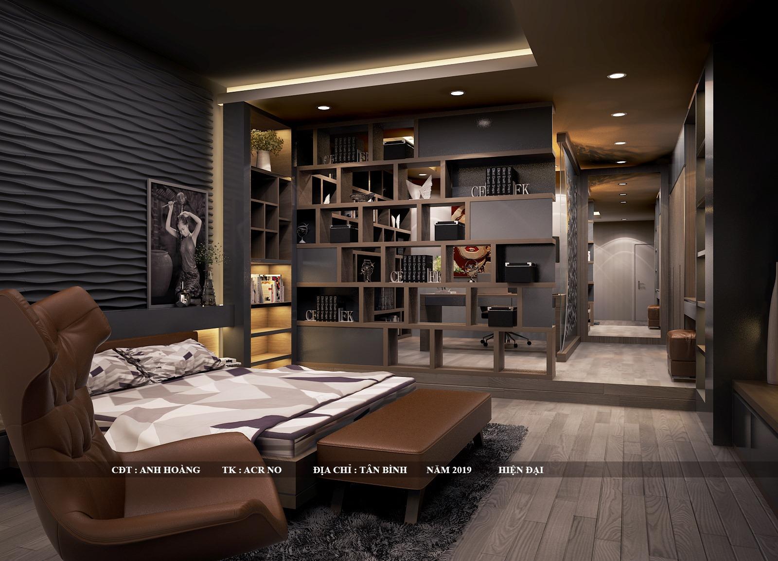 Phòng ngủ tích hợp phòng làm việc hiện đại sang trọng