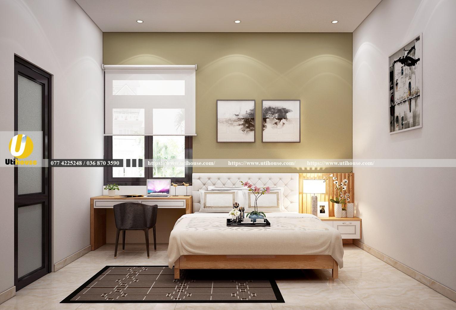 Phòng ngủ kết hợp phòng làm việc hiện đại tối giản