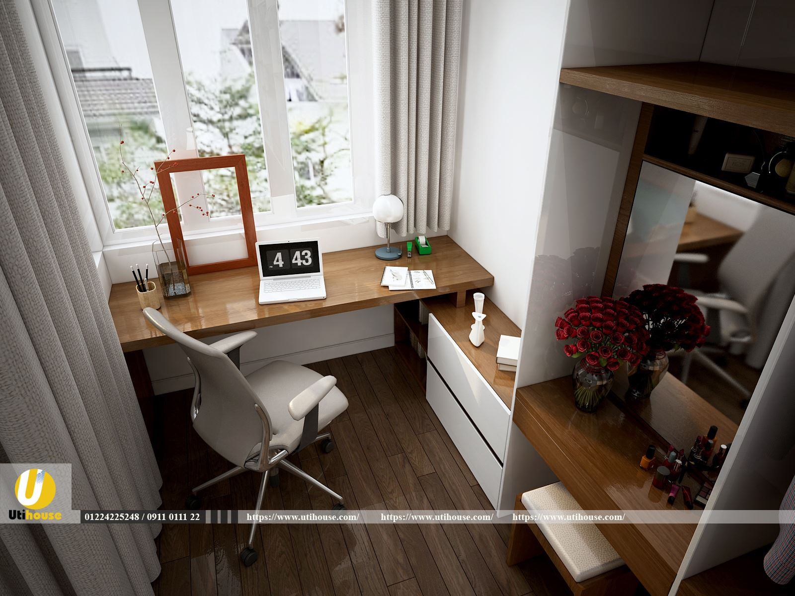 Phòng ngủ kết hợp phòng làm việc phong cách Châu Âu