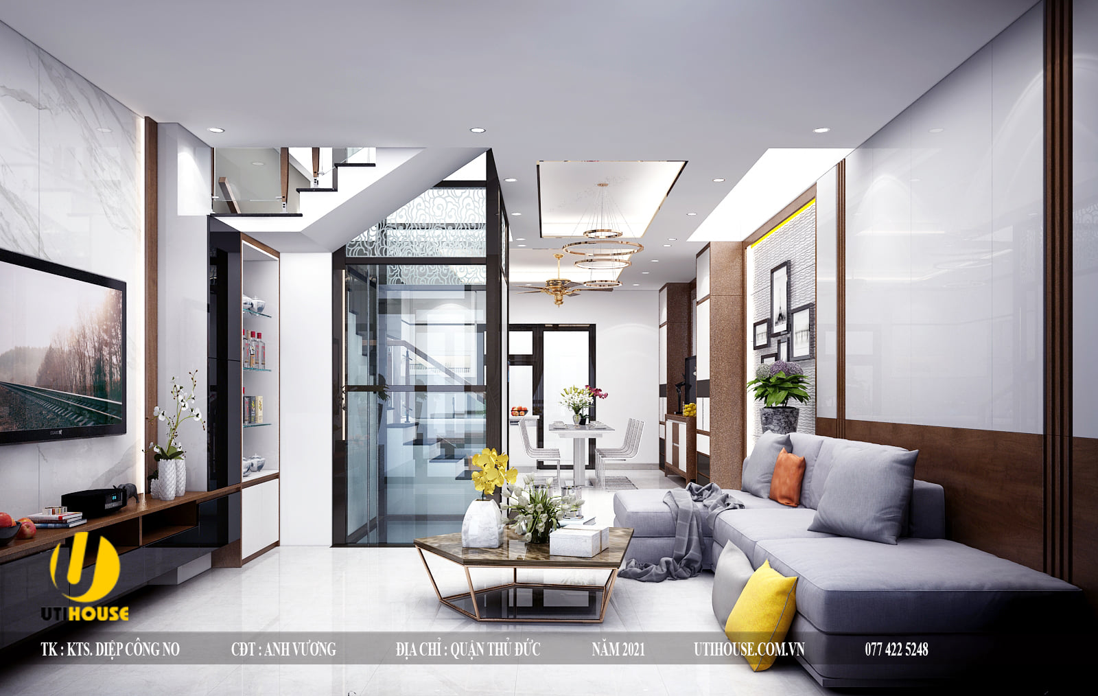 Mẫu thiết kế nội thất chung cư 70m2 siêu hiện đại