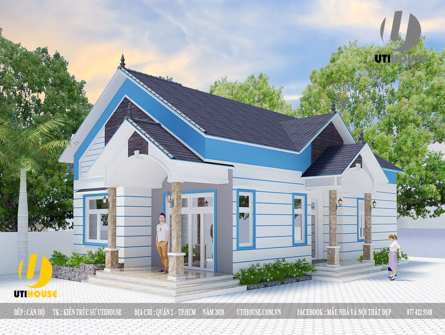 Thiết kế nhà phố mái thái, tông trắng