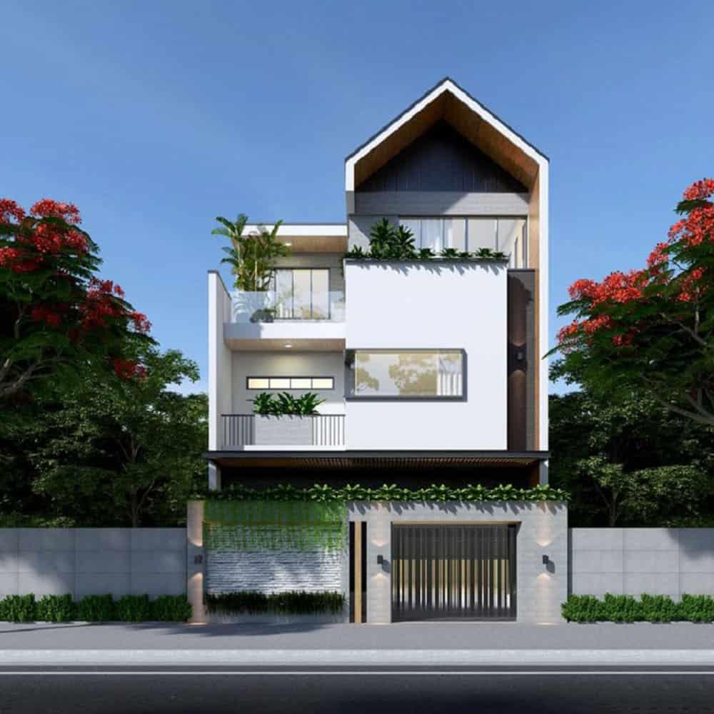 Thiết kế nhà phố cực hút mắt với phần mái độc lạ