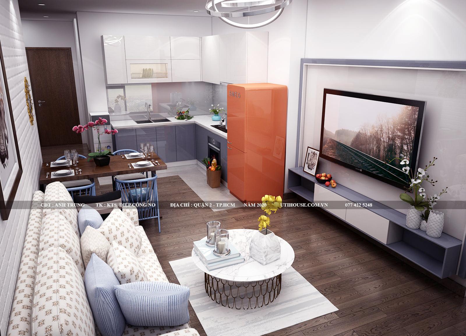 Mẫu thiết kế nội thất với đồ dùng bọc nhung