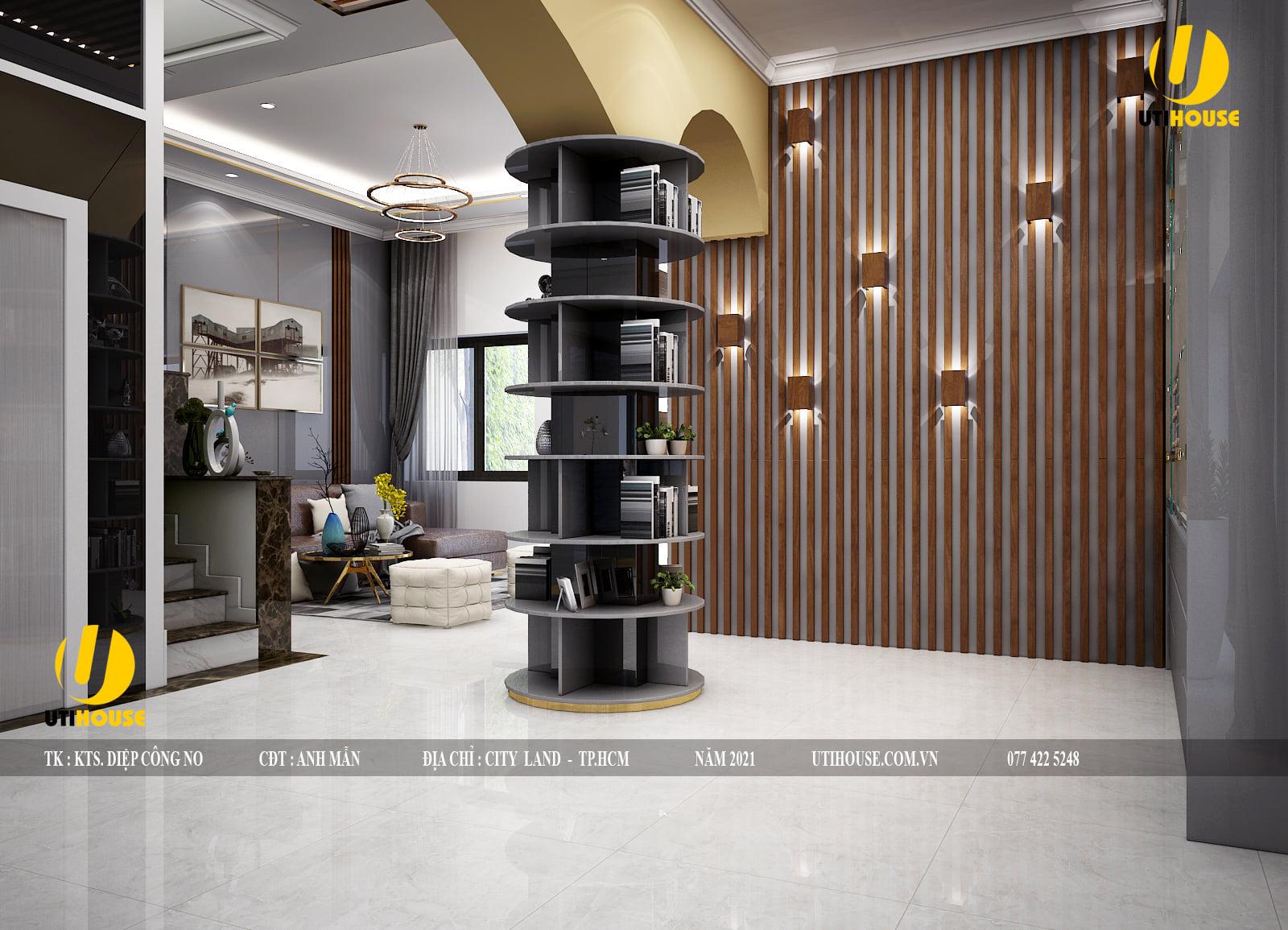 Mẫu thiết kế nội thất lấp lánh ánh kim vàng đồng