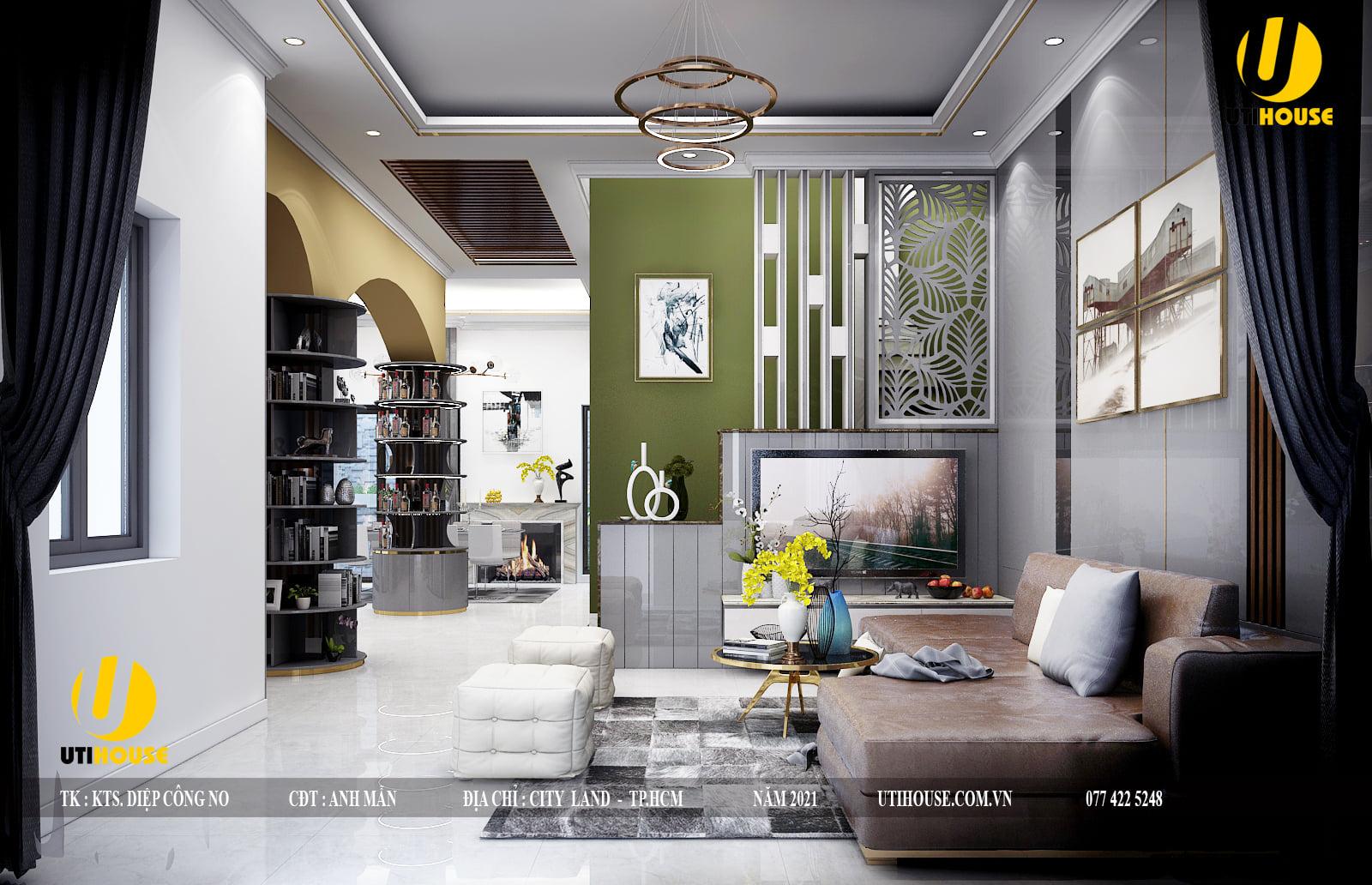 Nội thất phòng khách của biệt thự hiện đại