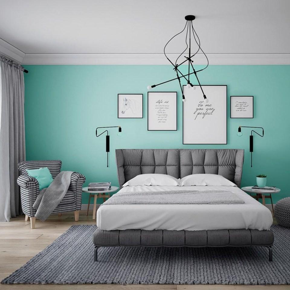 Mẫu thiết kế nội thất chung cư 65m2 màu xanh lá thanh lịch