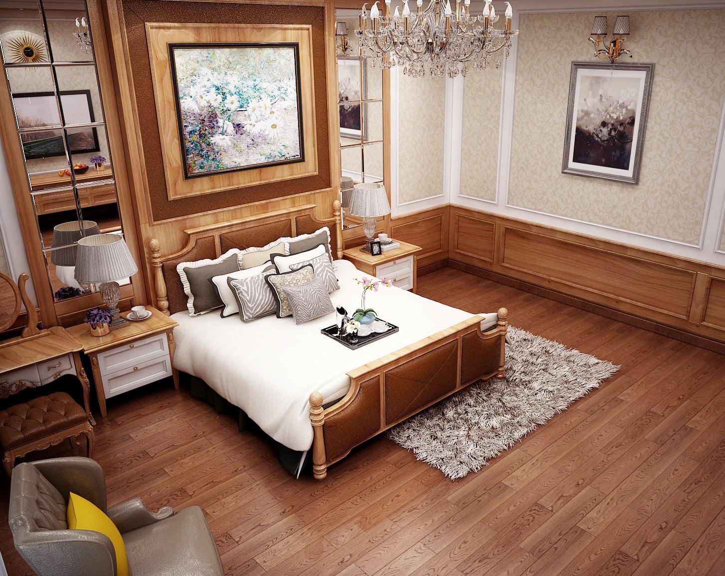 Mẫu thiết kế nội thất chung cư 65m2 phong cách tân cổ điển