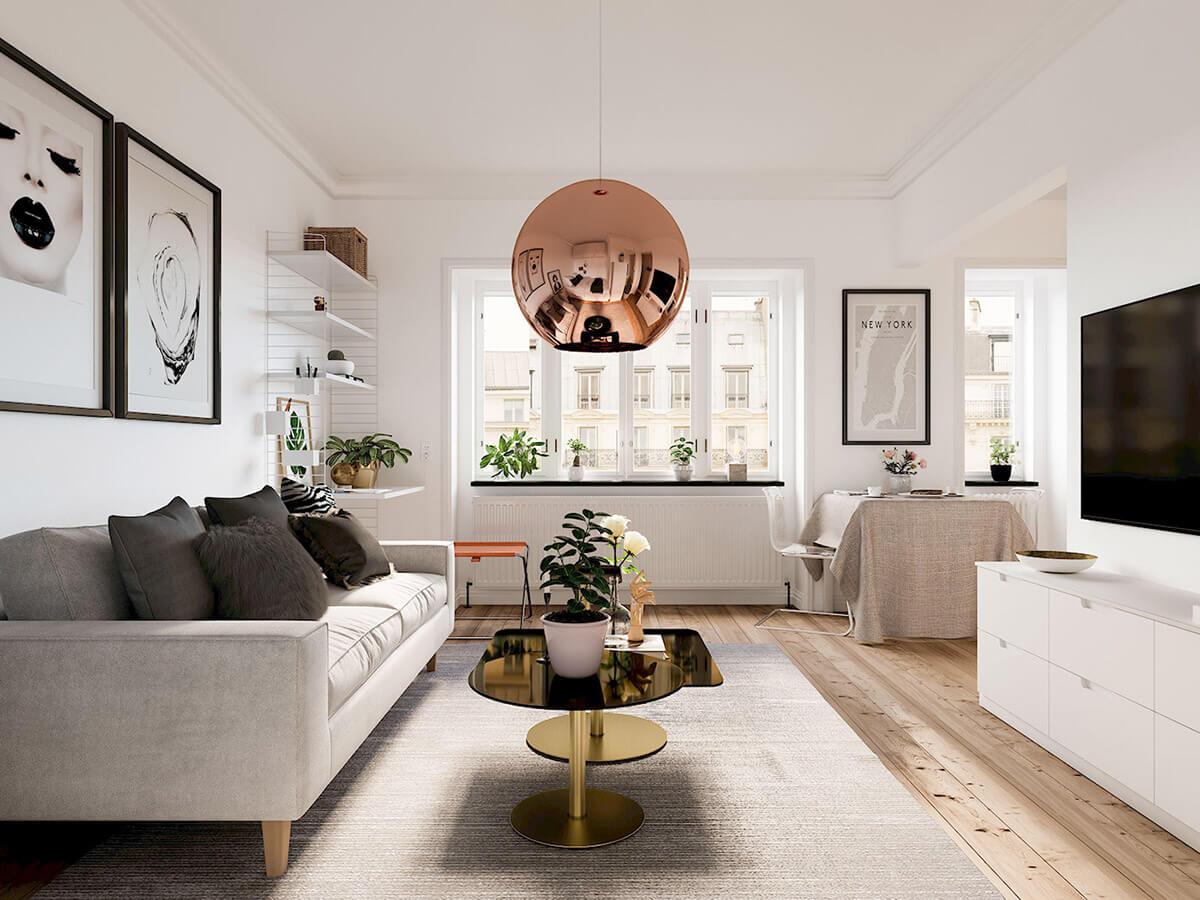Phòng khách chung cư đẹp sang trọng theo xu hướng Bắc Âu