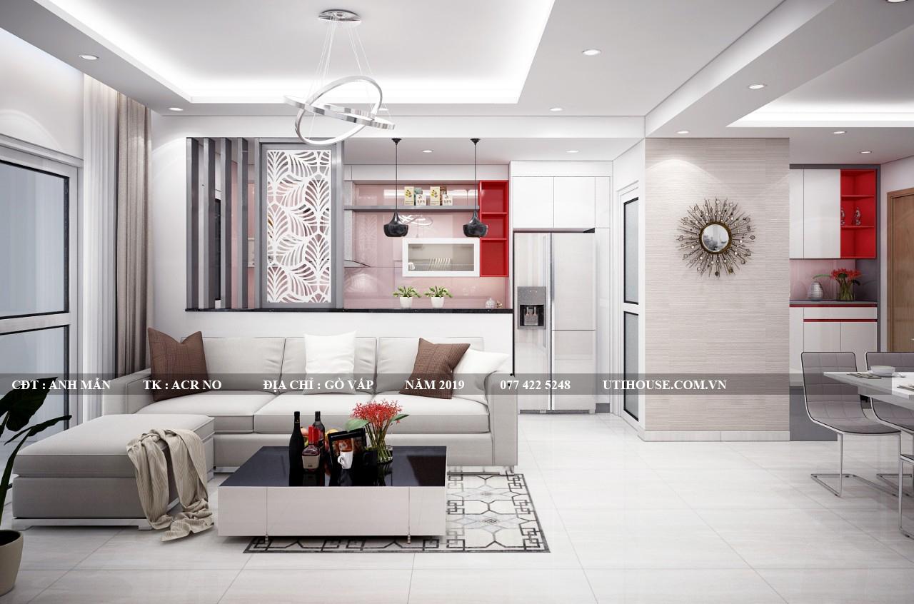 Phòng khách chung cư không gian mở phong cách tối giản