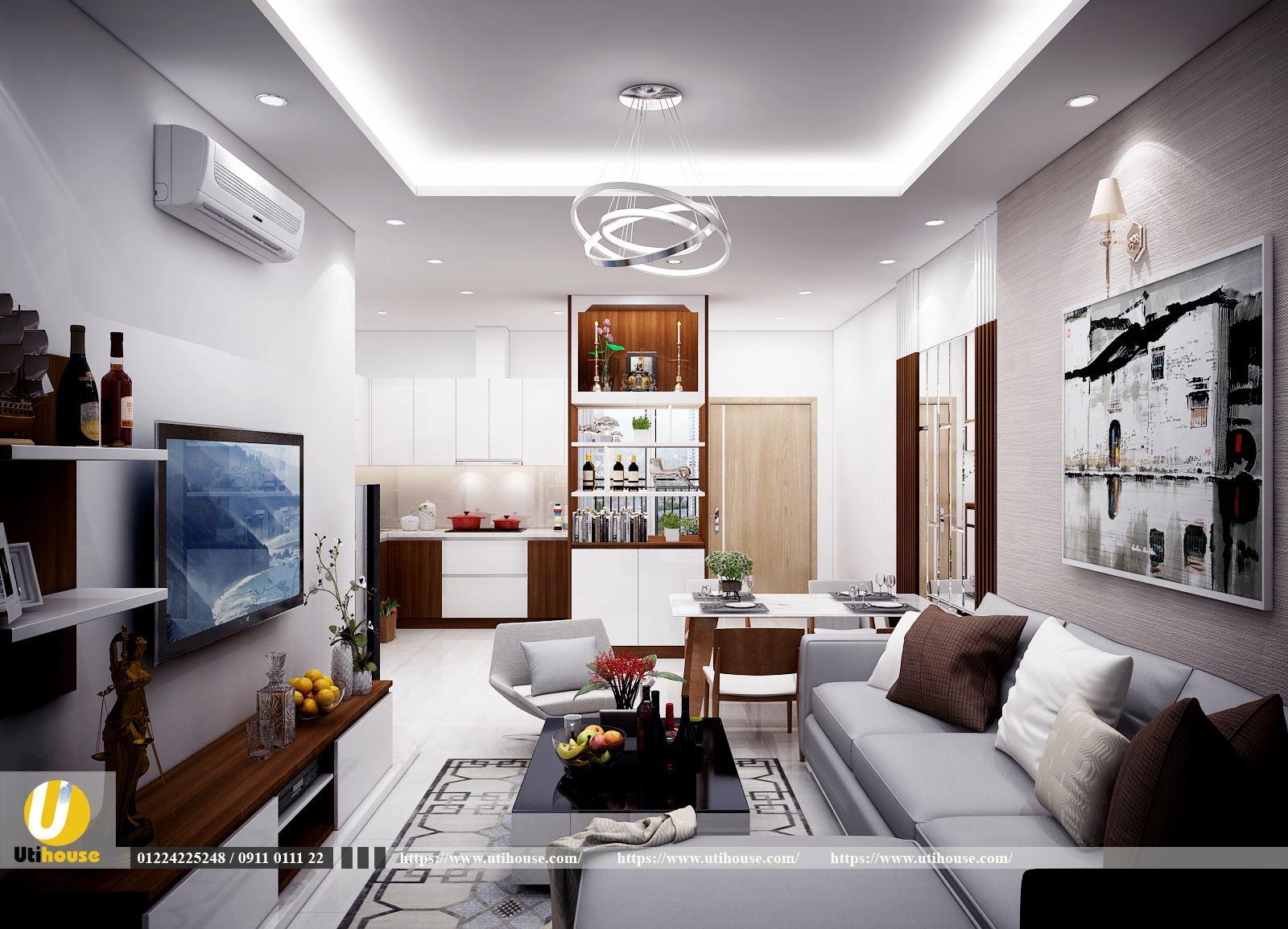Phòng khách chung cư phong cách đương đại