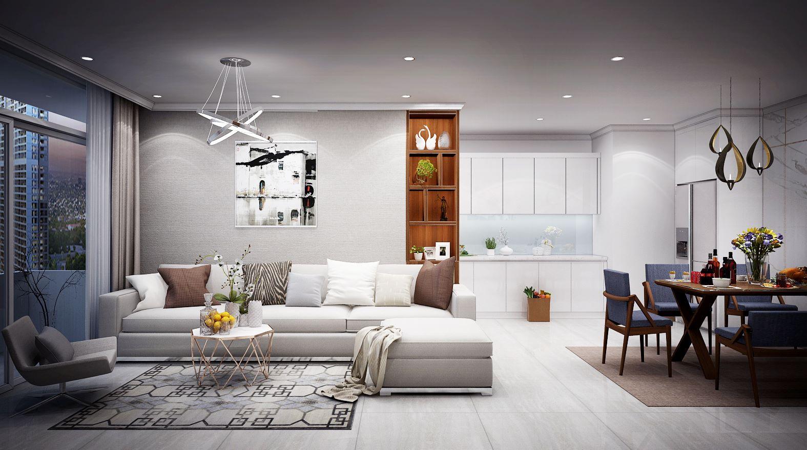 Phòng khách chung cư ấm cúng với tông màu sáng