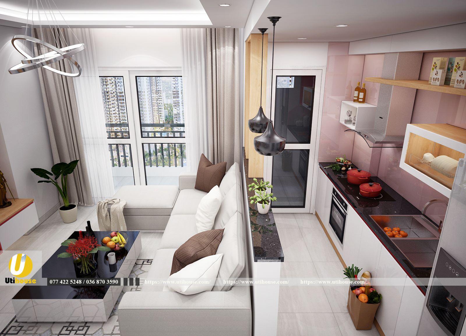 Phòng khách chung cư đẹp tiện nghi với bàn trà độc đáo