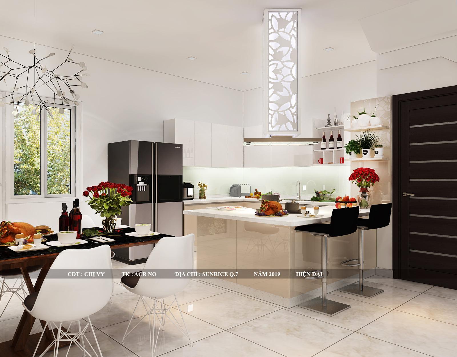 Thiết kế nội thất nhà bếp không gian mở, hướng ra sân vườn