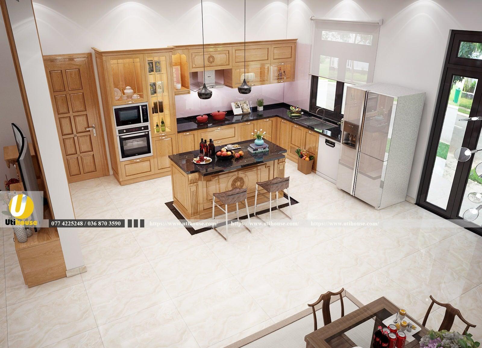 Thiết kế nội thất nhà bếp biệt thự tương phản lạ mắt