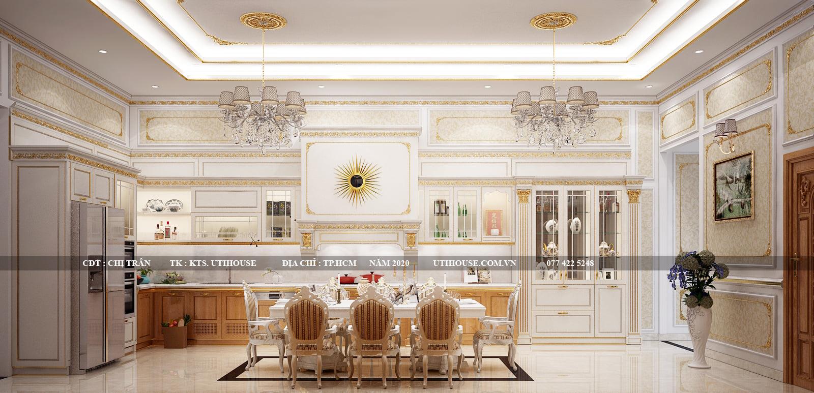 Thiết kế nội thất nhà bếp biệt thự đẹp dùng màu trắng làm chủ đạo