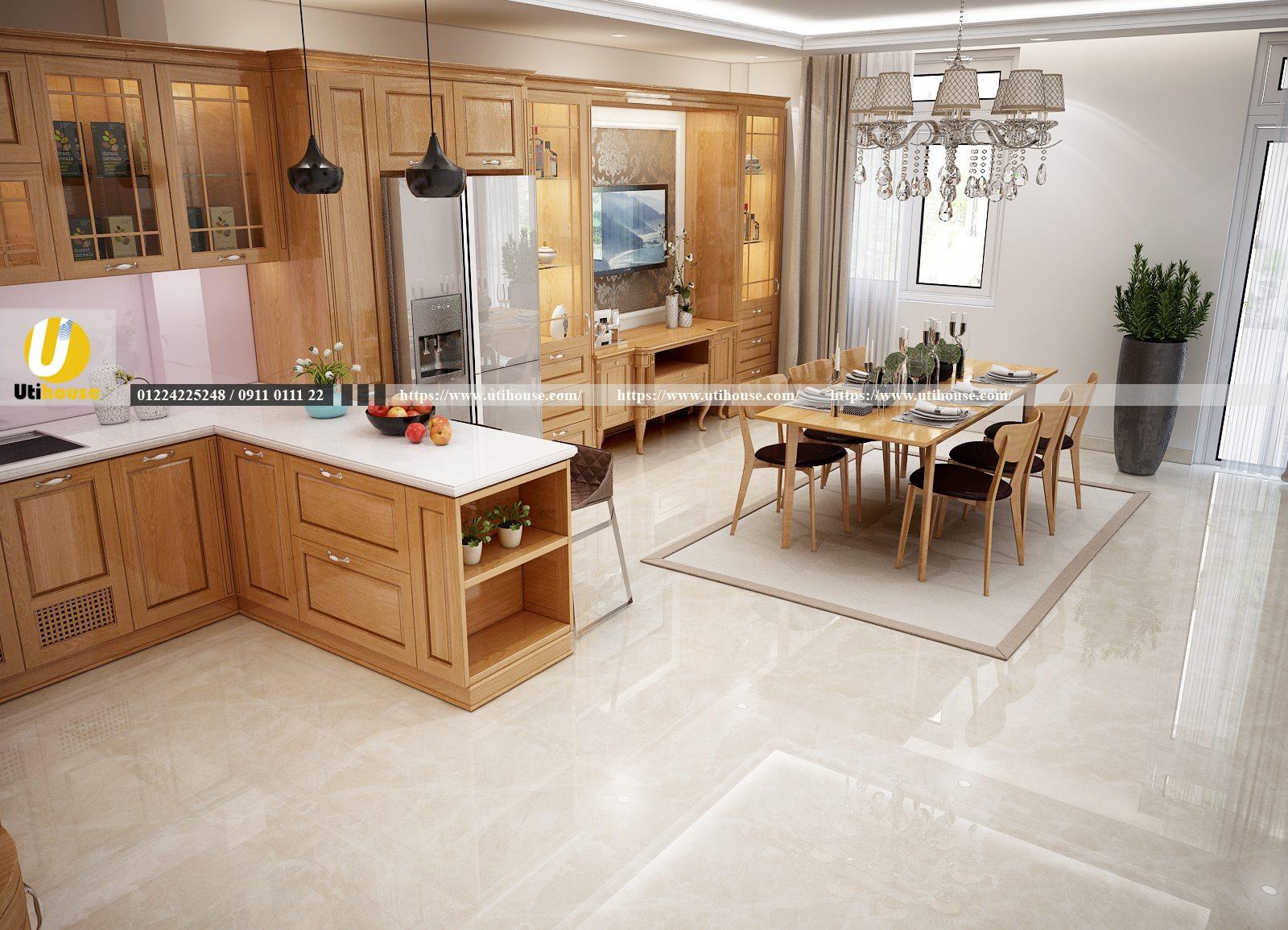 Thiết kế nội thất nhà bếp biệt thự sang trọng, bền đẹp cùng gỗ tự nhiên