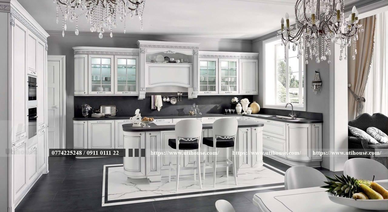 Thiết kế nội thất nhà bếp biệt thự sang trọng, bền đẹp