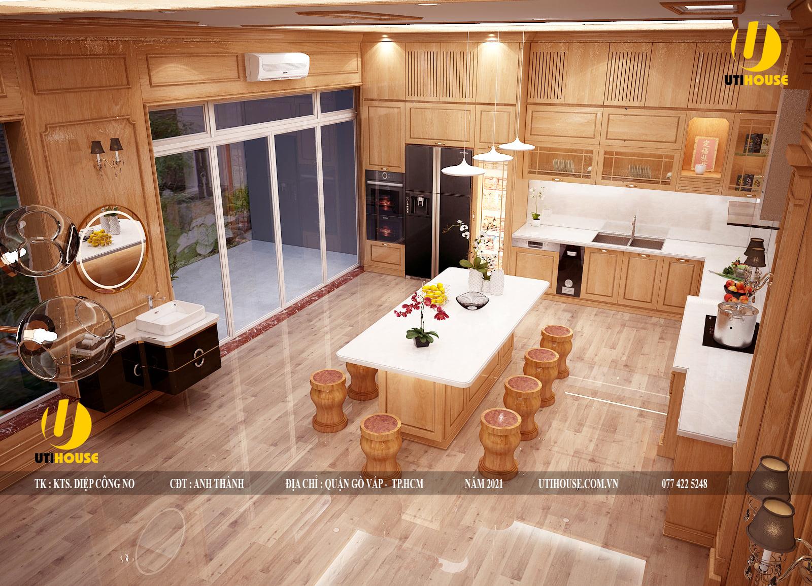 Ý tưởng thiết kế nội thất nhà bếp biệt thự đẹp và độc đáo